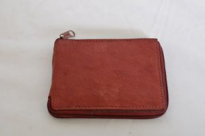 Brown Zippered Bifold Leather Wallet