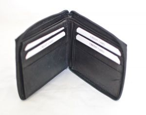 Black Zippered Bifold Leather Wallet