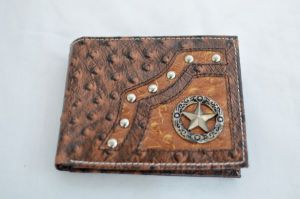Brown & Cognac Ostrich Print Bifold Wallet with Star Accent
