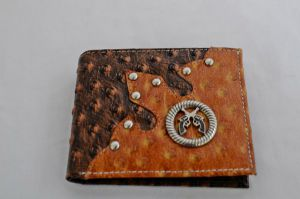 Brown & Cognac Ostrich Print Bifold Wallet with Crossed Guns Accent