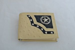 Bone & Black Ostrich Print Bifold Wallet with Star Accent