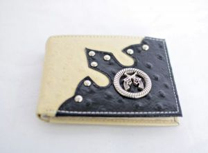 Bone & Black Ostrich Print Bifold Wallet with Crossed Guns Accent