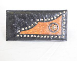 Black & Cognac Ostrich Print Checkbook Wallet with Star Accent