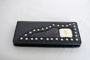 Black Faux Leather Checkbook Wallet with Praying Cowboy Accent