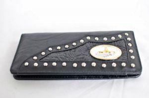 Black Faux Leather Checkbook Wallet with Longhorn Accent