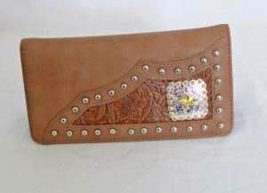 Tan Faux Leather Checkbook Wallet with Star Accent