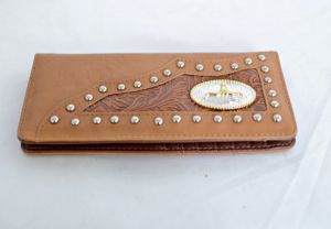 Tan Faux Leather Checkbook Wallet with Longhorn Accent