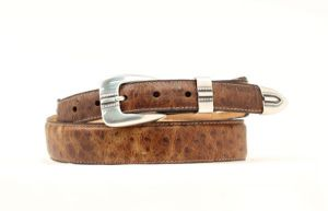 "Nocona 1 1/4"" Brown Ostrich Print Tapered Belt"