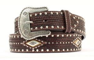 Nocona Brown Western Woven Leather Belt with Diamond Conchos