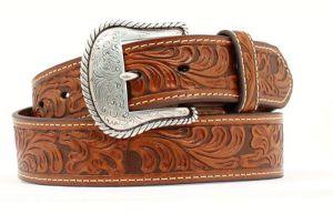 Nocona Tan Western Tooled Leather Belt