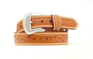 "Nocona Western 1 1/2"" Cognac Belt with Basketweave and Ostrich Prints"
