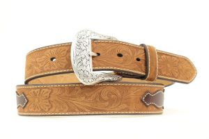 Nocona Top Hand Western Brown Leather Belt with Scalloped Overlay
