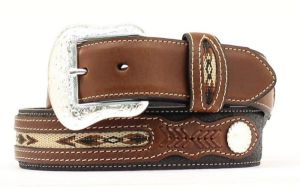 Nocona Black/Brown Western Belt with Woven Inset Overlay