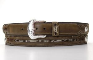 Nocona Brown Western Belt with Woven Inset Overlay