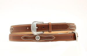 Nocona Western Brown Leather Belt with Star Conchos
