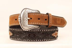 Nocona Western Brown Leather Belt with Lone Star Conchos