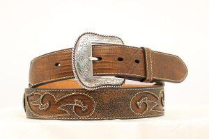 "Nocona Western 1 1/2"" Brown Lizard Print Belt"