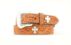 "Nocona Western 1 1/2"" Tan Tooled Leather & Cross Belt"