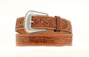 "Nocona Western 1 1/2"" Tan Crocodile Print Belt"