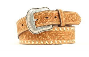 "Nocona Western 1 3/4"" Tan Floral & Cross Belt"