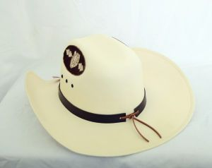 Laredo Ivory and Brown Canvas Cowboy Hat