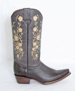 Ladies Elegant Brown/Beige Floral Snip Toe Cowboy Boots