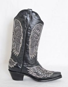 El Dorado Ladies Black Wing and Cross Snip Toe Cowboy Boots