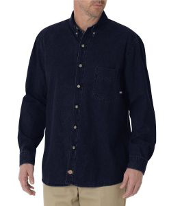 Dickies Denim Long Sleeve Button-Down Denim Shirt